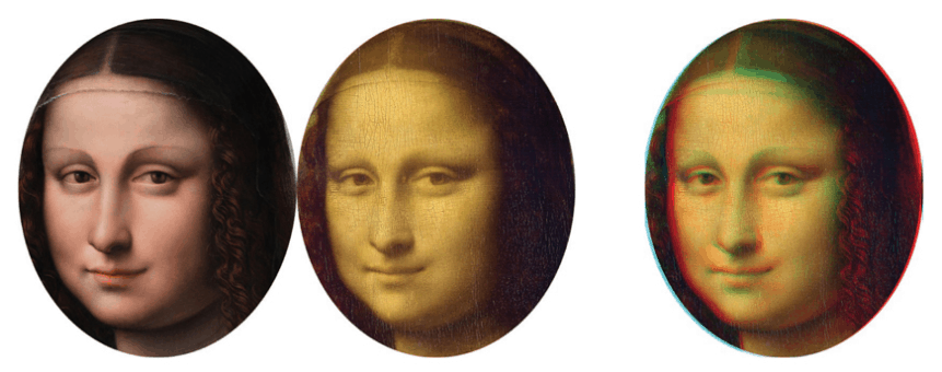 The Prada Painting left and the Mona Lisa in the middle. The 3D image on the right