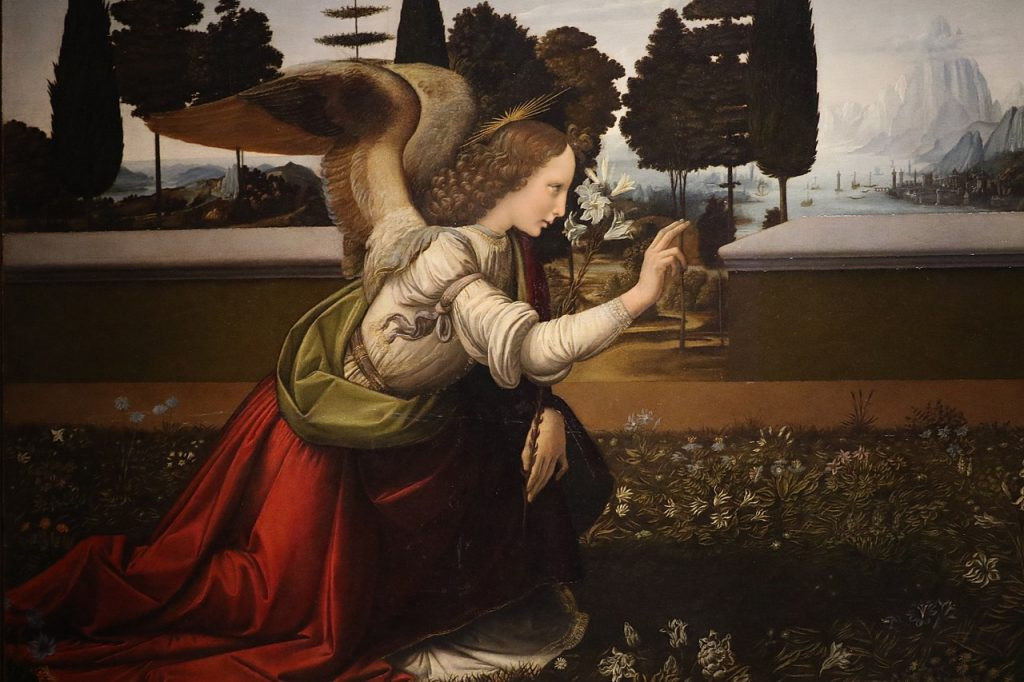 Detail of Angel Gabriel Annunciation da vinci