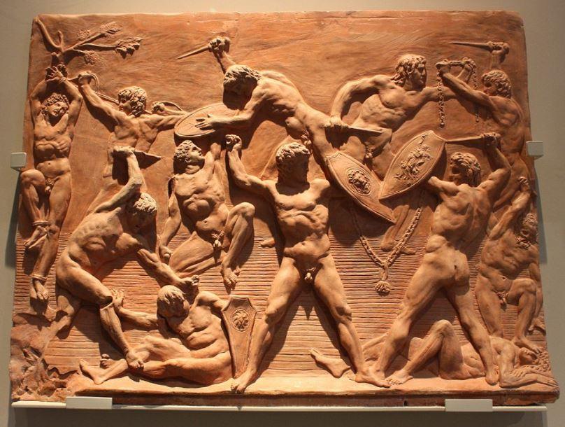 Battle of the nudes terracotta plaque