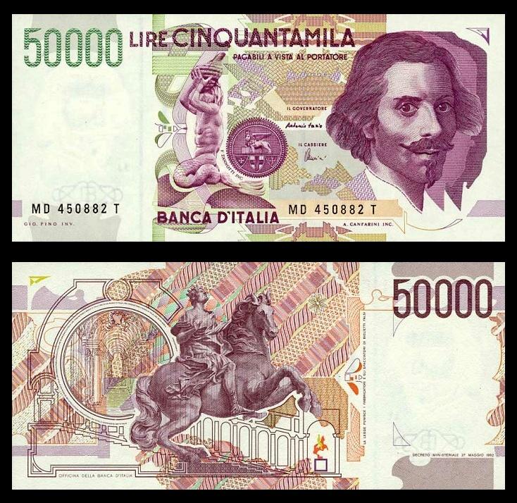 Bernini italian banknote