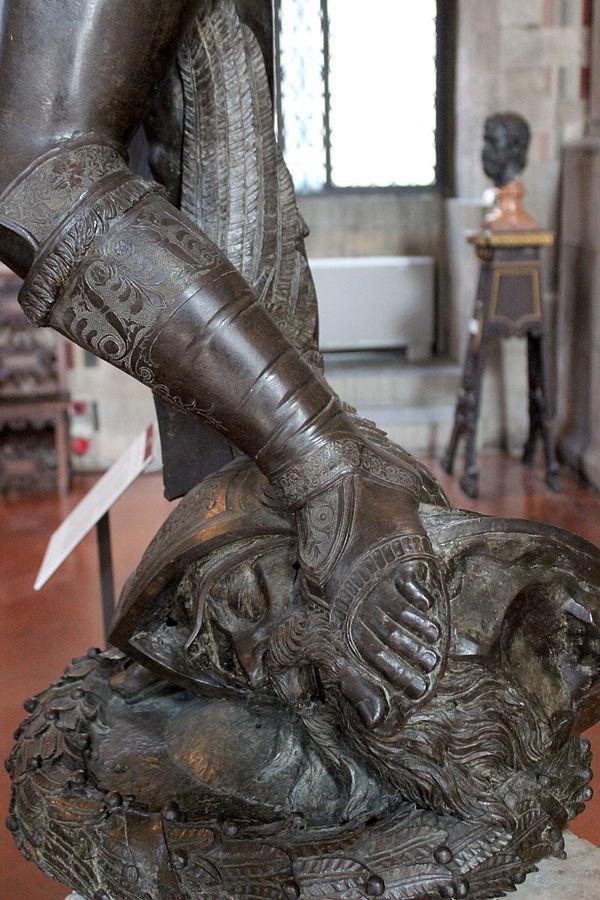 Detail of head of goliath Donatello