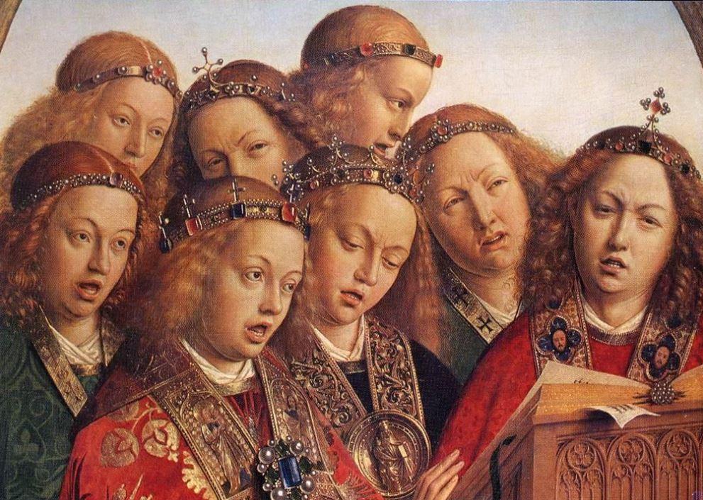 Ghent altarpiece detail of singing angels