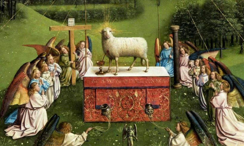 Ghent altarpiece detail of the lamb and angels