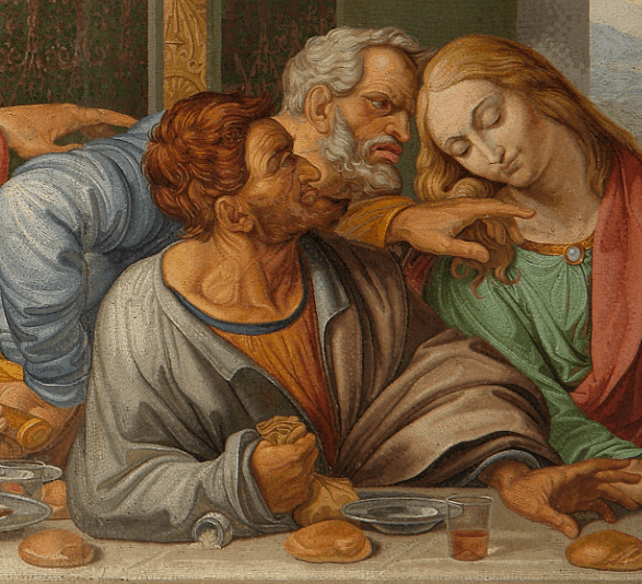 Detail of Judas who is holding a bag of silver