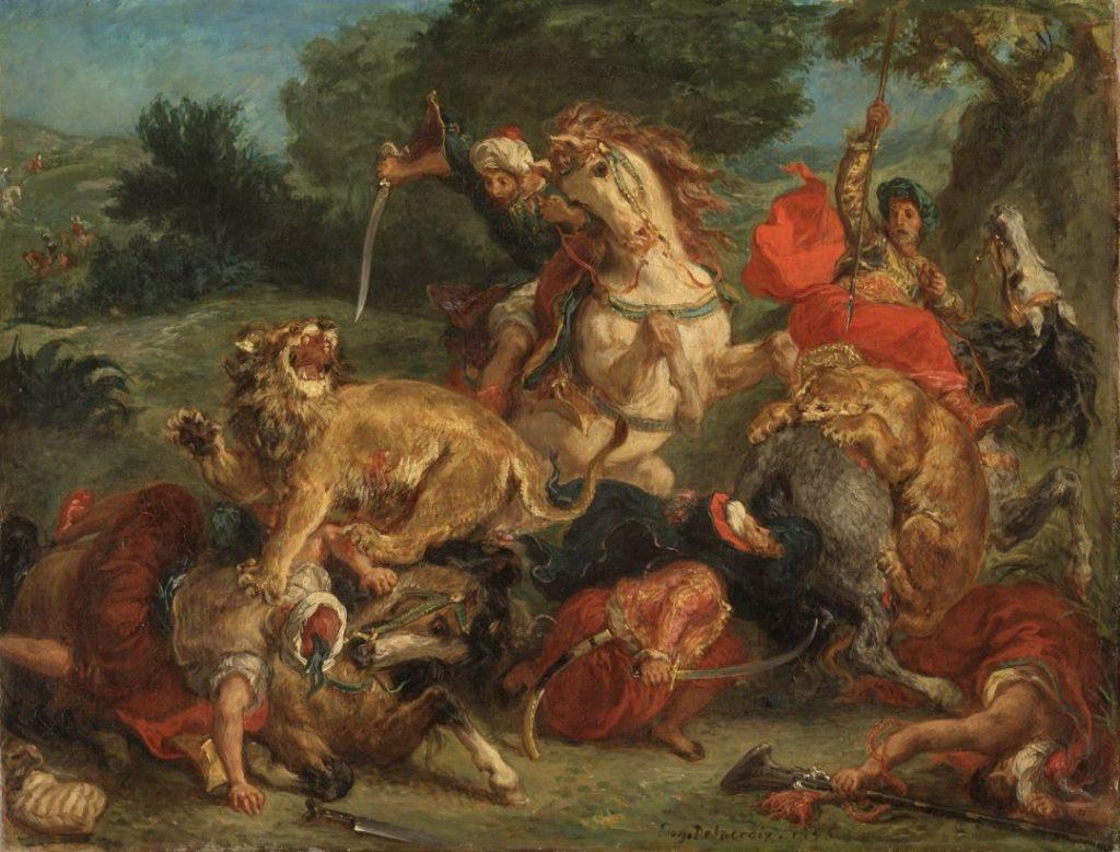 Lion hunt eugene delacroix paintings
