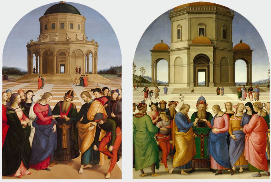 Marriage of the virgin perugino and raphaels version