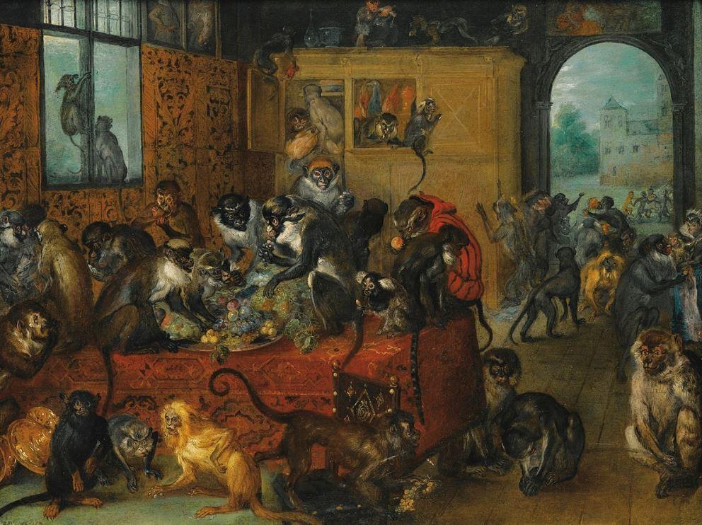 Monkeys feasting jan brueghel the elder