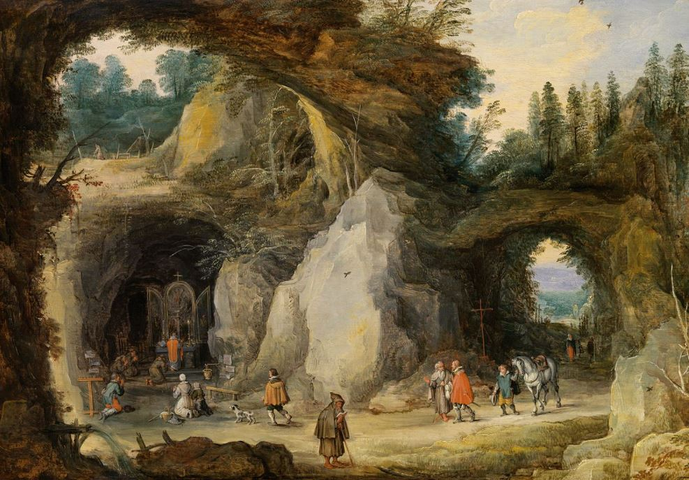 Jan Brueghel The Elder Paintings Mountain Landscape with Pilgrims in a Grotto Chapel