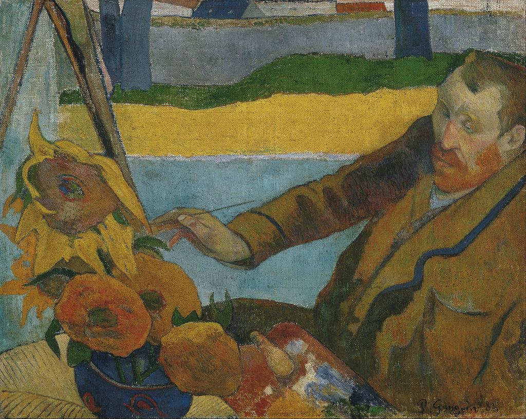 Portrait of van Gogh made by Paul Gauguin Sunflowers