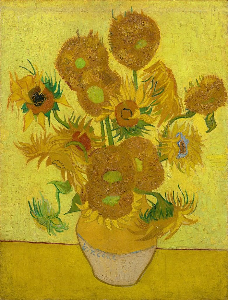 The Sunflowers painting with a strip of wood on top