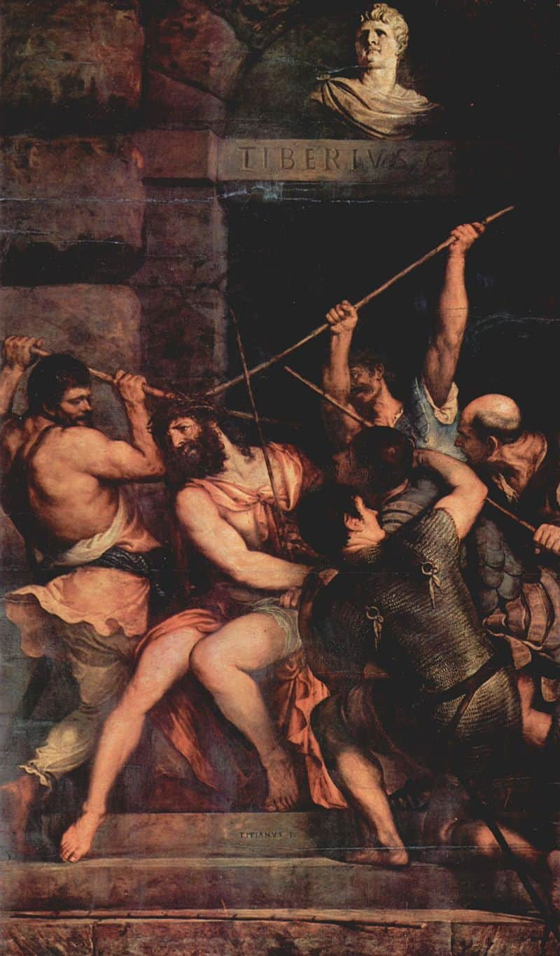 The crowing with thorns by titian