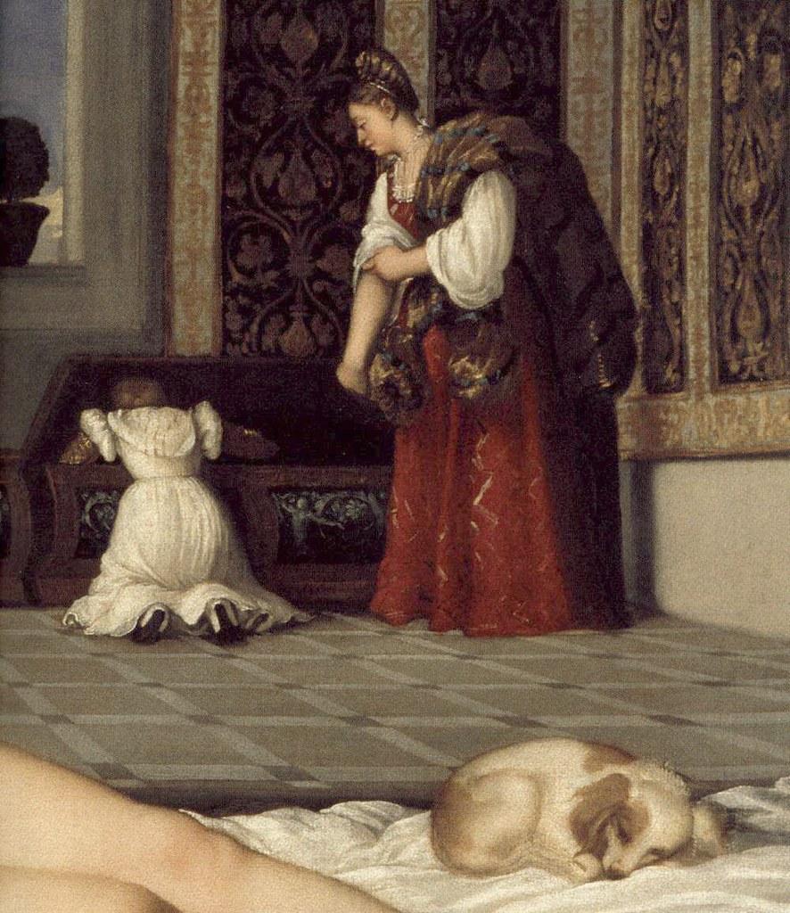 Venus of Urbino dog and maids