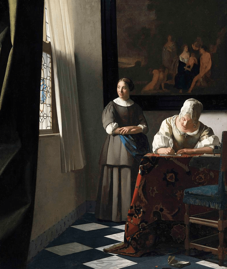 facts about Johannes vermeer Lady writing a letter with her maid