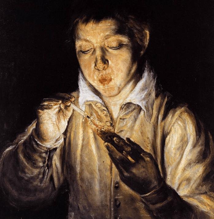 Boy Blowing on an Ember EL Greco