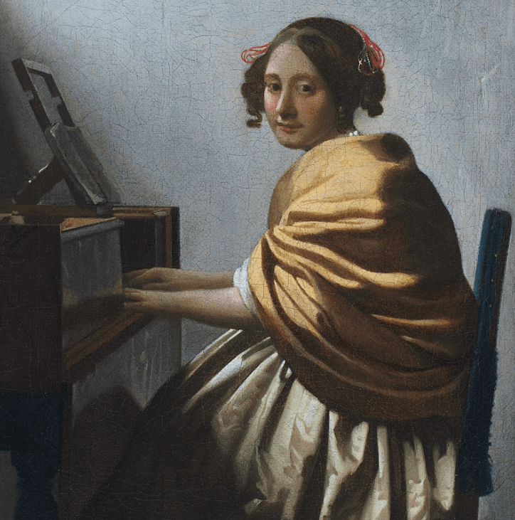 A Young Woman Seated at the Virginals by Vermeer