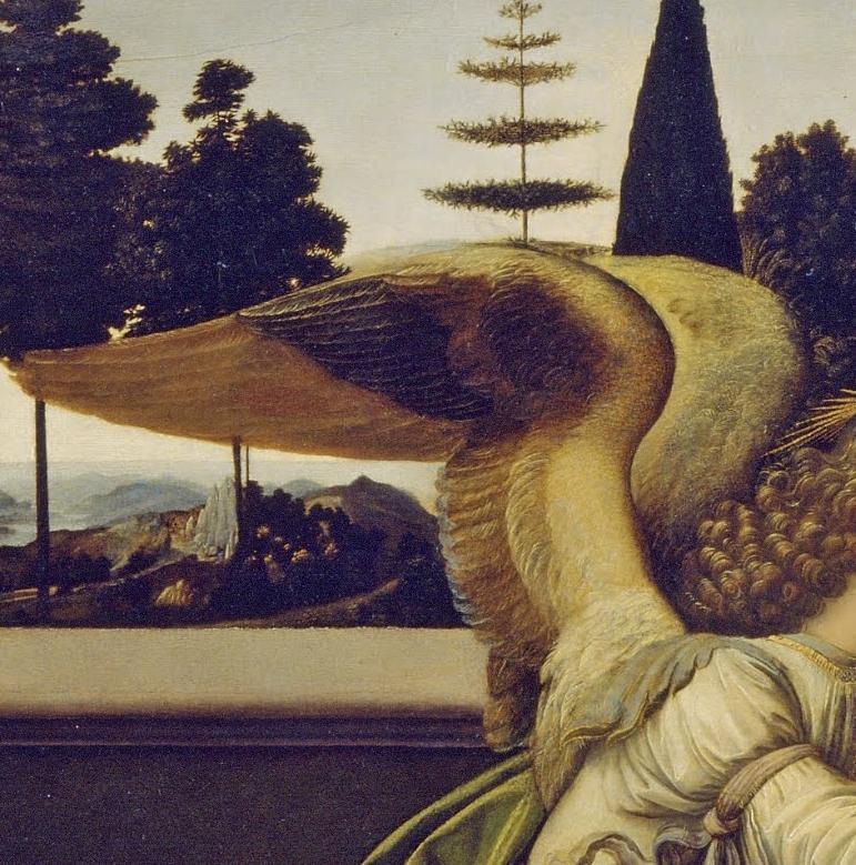 Detail of Angel Gabriel's wings annunciation da vinci