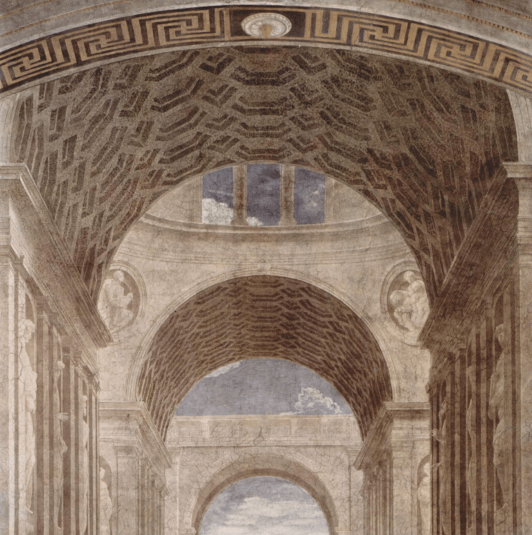 Detail of the architectural elements in the School of Athens.