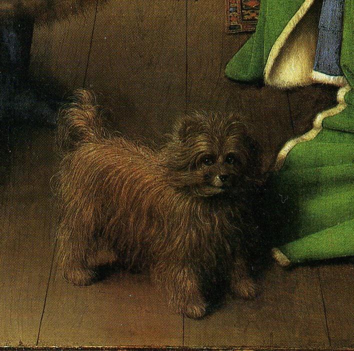 Detail of dog in Arnolfini portrait