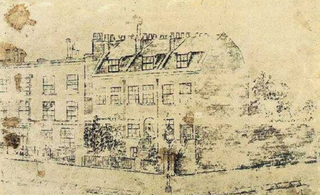 Drawing by Van Gogh of the Boarding house he stayed while working in London