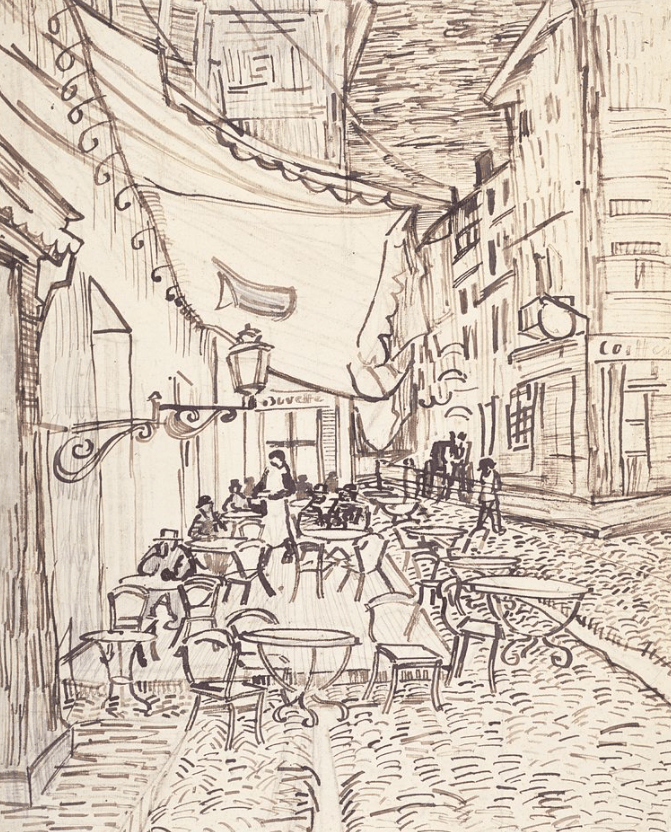 Drawing of Café Terrace at Night