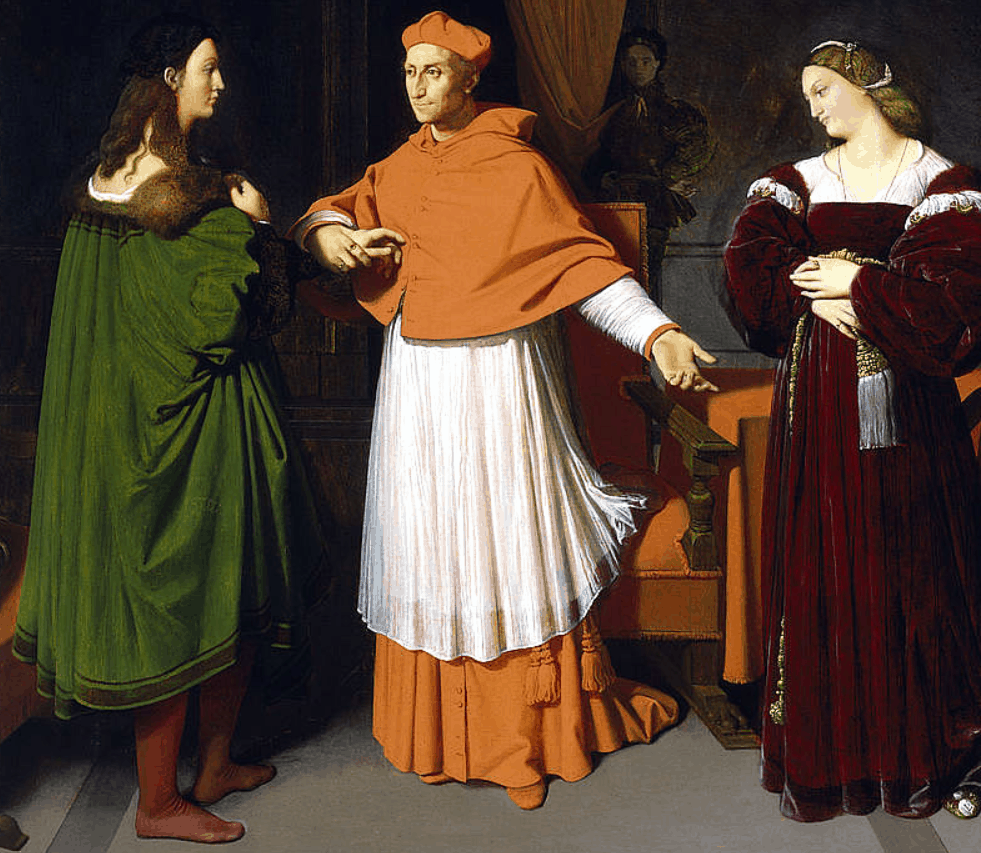 The Cardinal offering his niece, Maria Bibbiena, to Raphael.