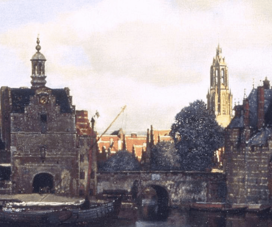 Detail of the church view of delft by Jan Vermeer