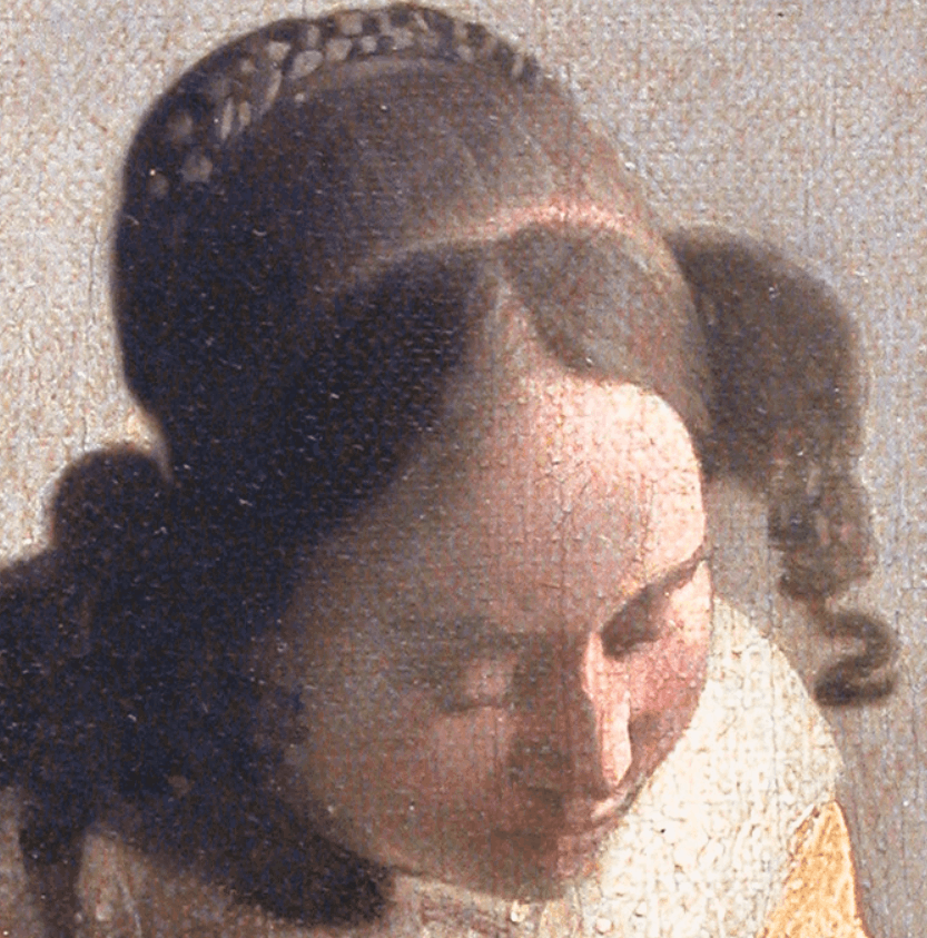 Detail of the depicted girl in The Lacemaker