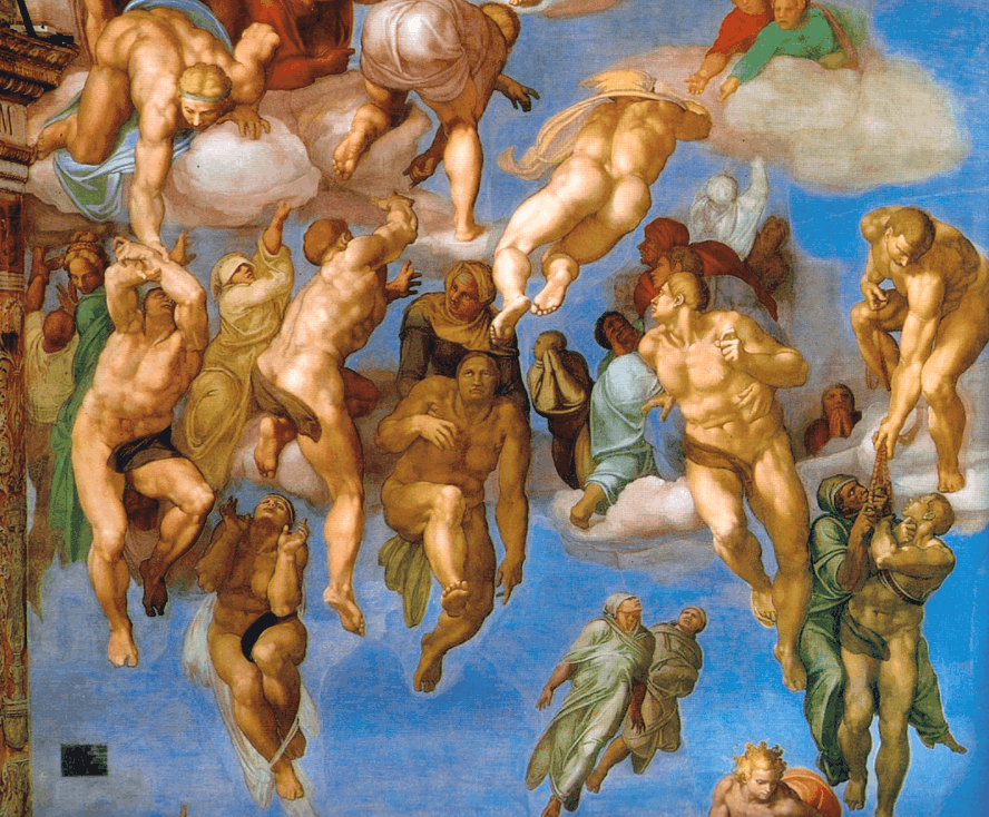 Detail of the saved in The Last Judgement painting