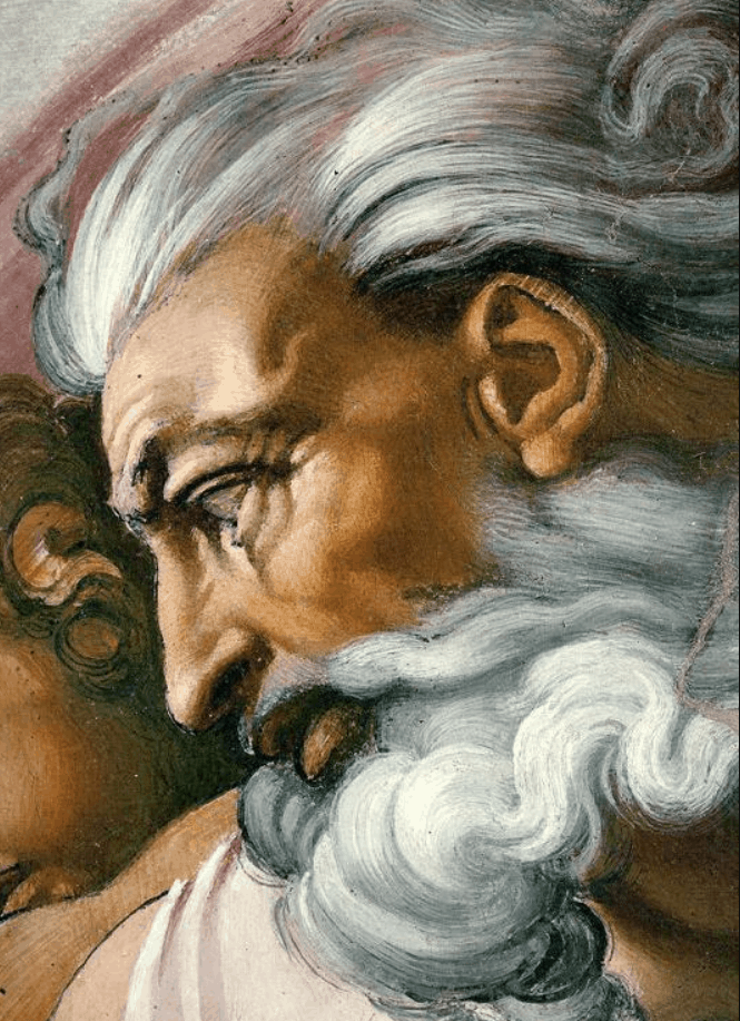 detail of God in creation of Adam