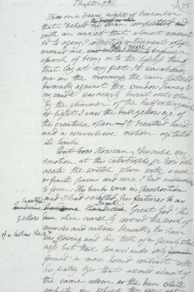 Draft of Frankenstein written by Mary Shelley