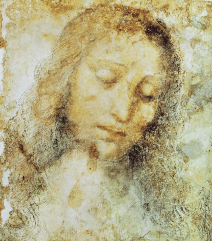 A study of the head of Jesus made by Leonardo da Vinci