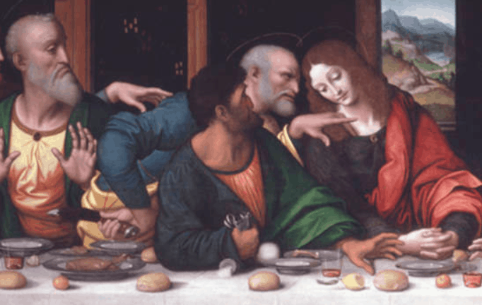 Judas tipping over the salt and peter holding a knife