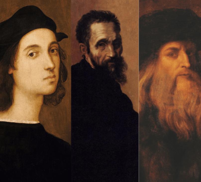 Raphael, Michelangelo, and Leonardo da Vinci
