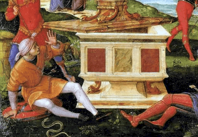 Snake at the bottom of the painting Resurection of christ by raphael