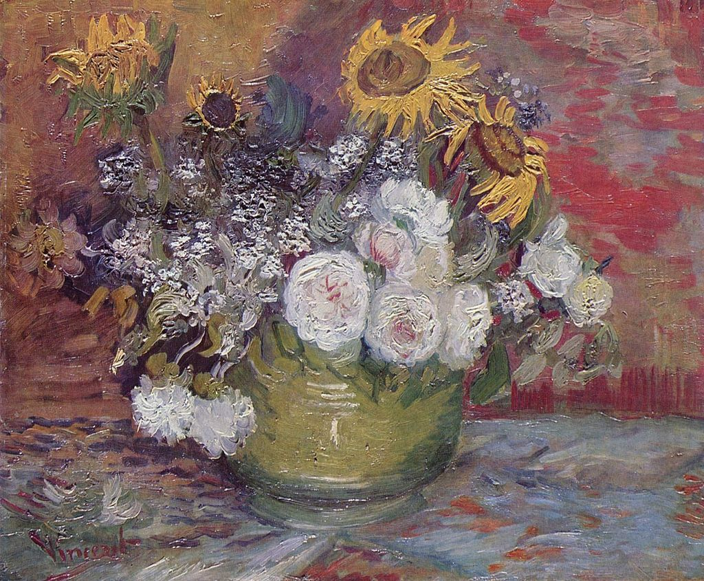 Roses and Sunflowers by Vincent van Gogh