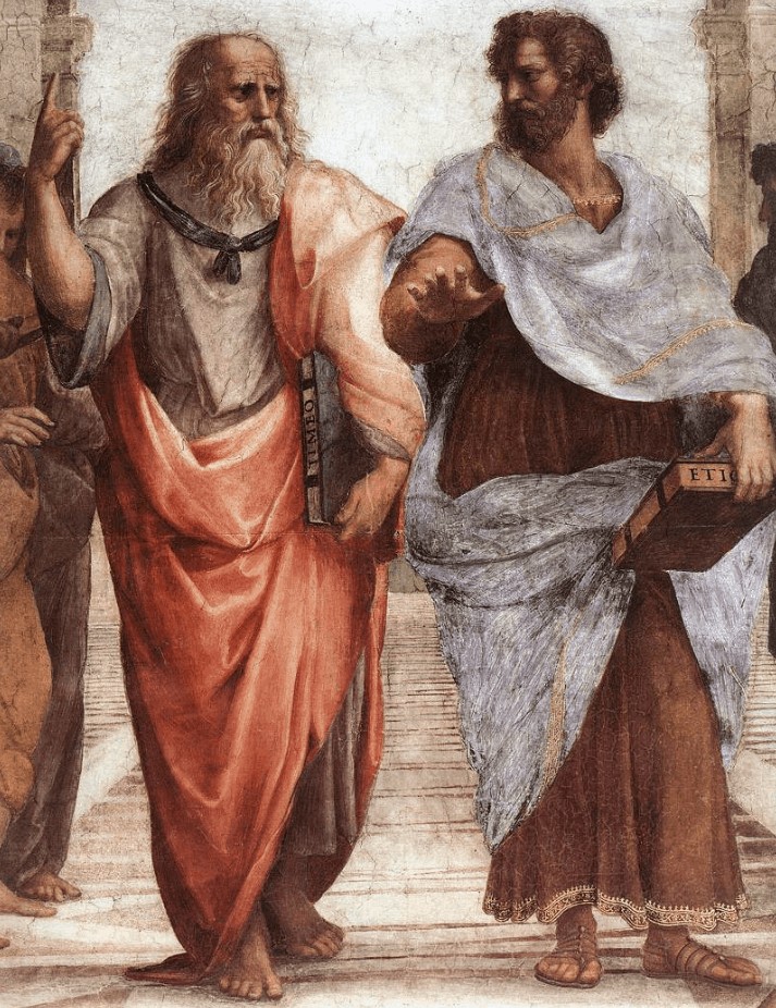 The central figures of the School of Athens, Plato and Aristotle.