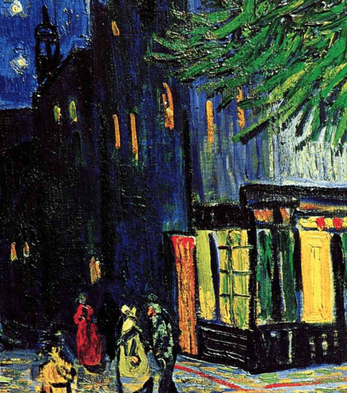 cafe terrace at night detail of street and store