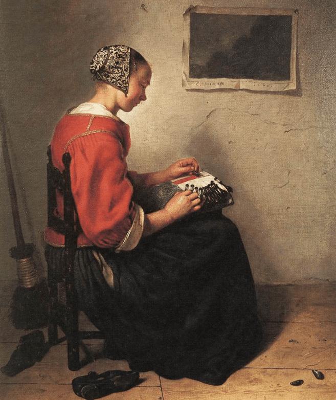The Lacemaker by Caspar Netscher