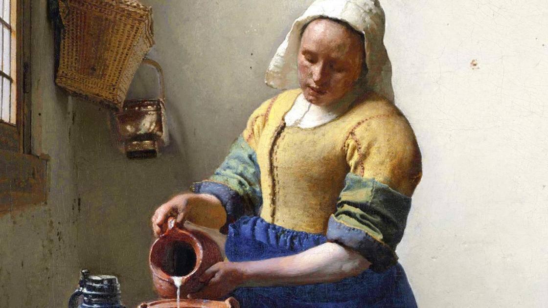 Detail of the Milkmaid by Johannes Vermeer
