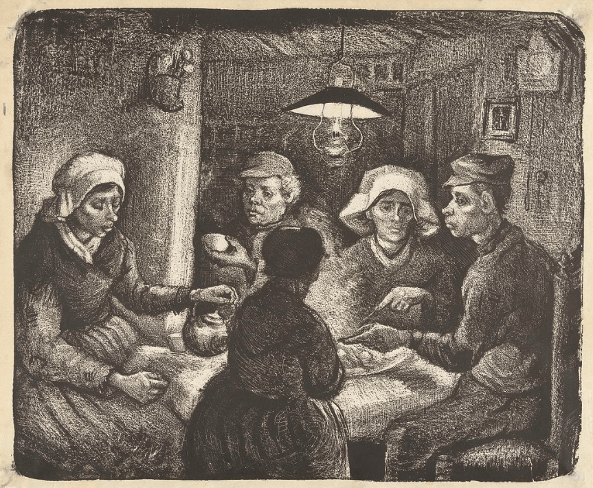 The potato eaters by vincent van gogh lithograph