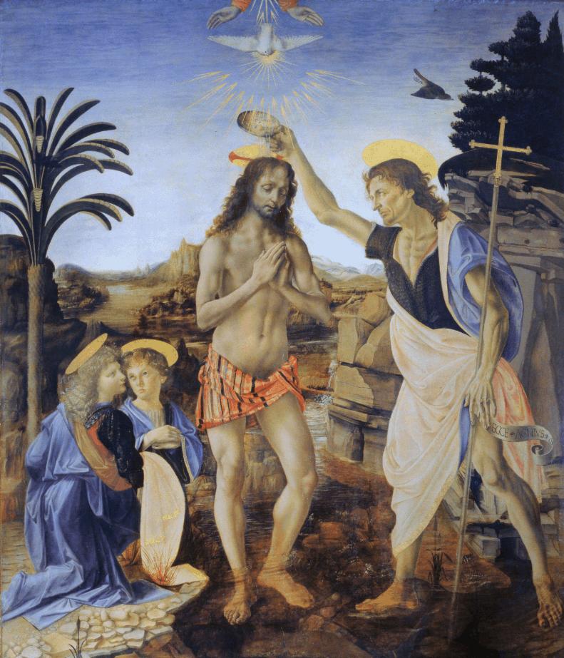 Leonardo da Vinci Famous Paintings the baptism of christ