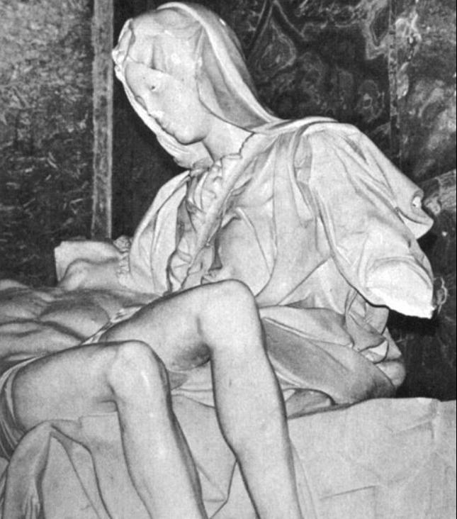 The Pieta missing an arm