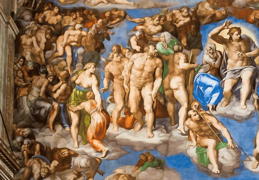 Top left section of the painting