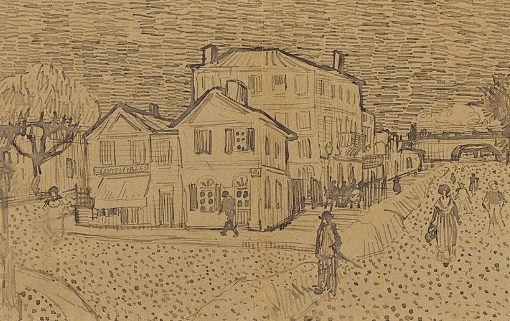 Drawing of the Yellow House by van Gogh