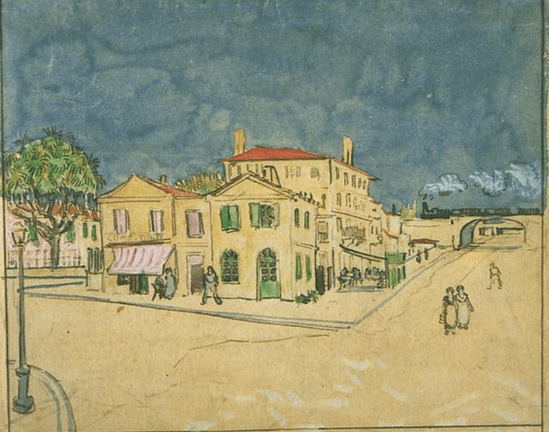 the yellow house van gogh atercolor