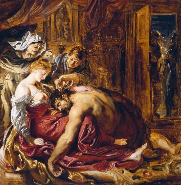 Sketch of samson and delilah by rubens