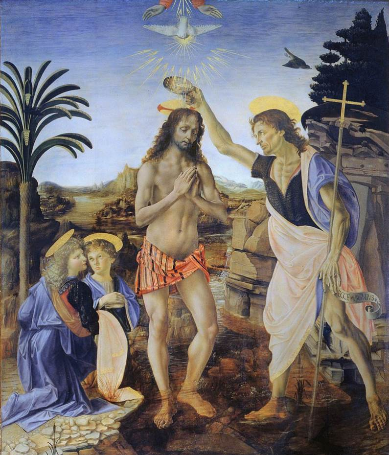The Baptism of Christ da vinci full painting