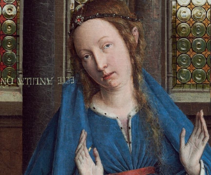 The annunciation van eyck detail of mary