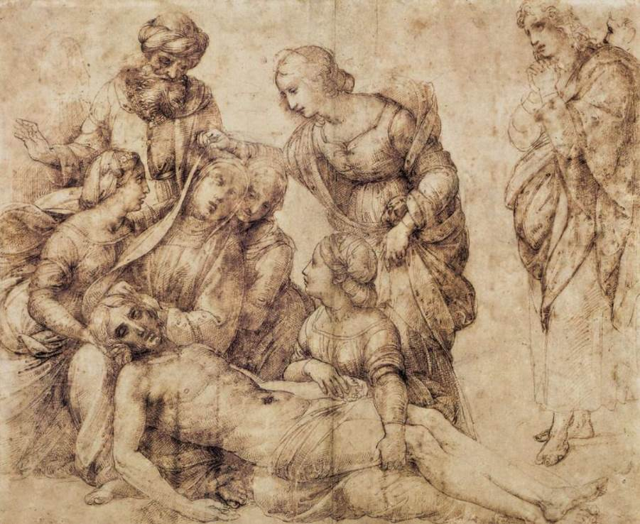 The deposition Raphael study in Louvre