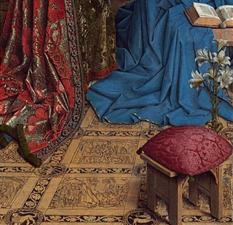 annunciation van eyck bottom of the painting detail vase and lilies